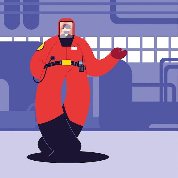 Человек в защитном костюме, химическая промышленность Premium векторы