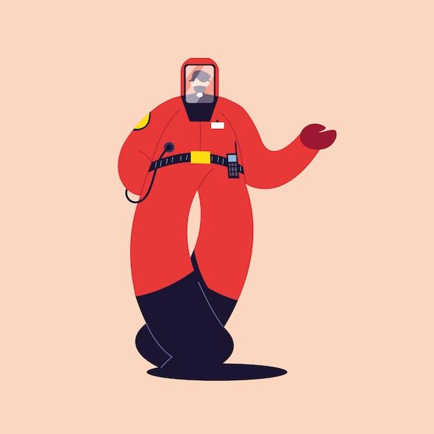 Человек в защитном костюме, защитная одежда Premium векторы