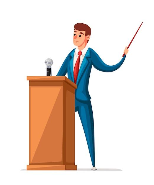 スーツを着た男は、マイクを使って木製トリビューンに立っています。スピーチをします。キャラクター 。白い背景のイラスト。 Premiumベクター