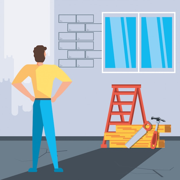 Man in interior of house under construction Premium Vector