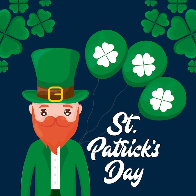 Man irish with balloons helium and clovers of st patrick day Premium Vector