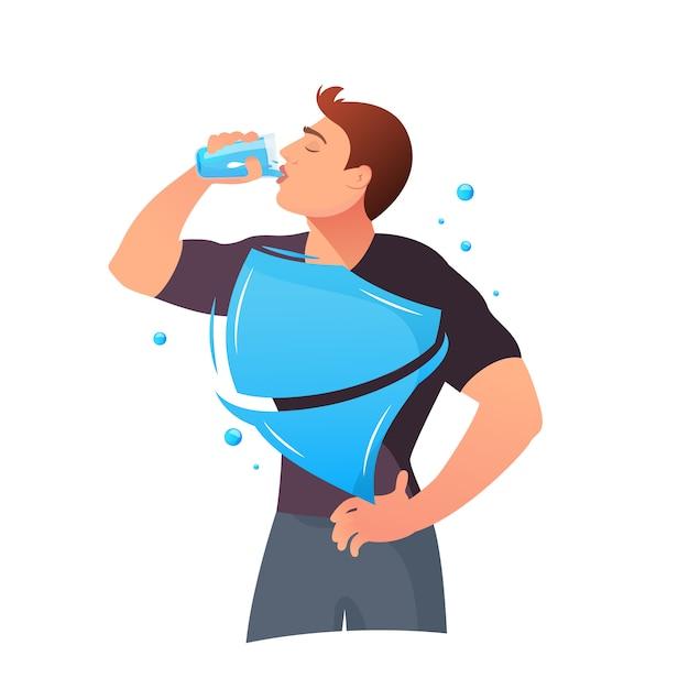 Man is drinking water Premium Vector