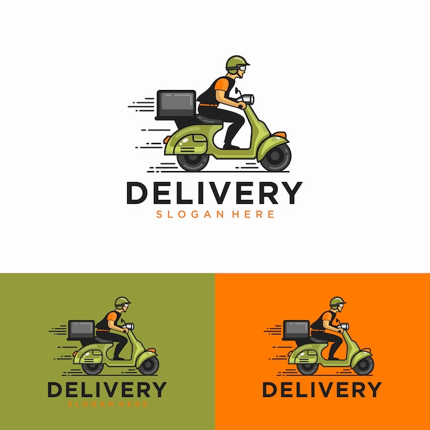 A man is riding a scooter. delivery logo Premium Vector