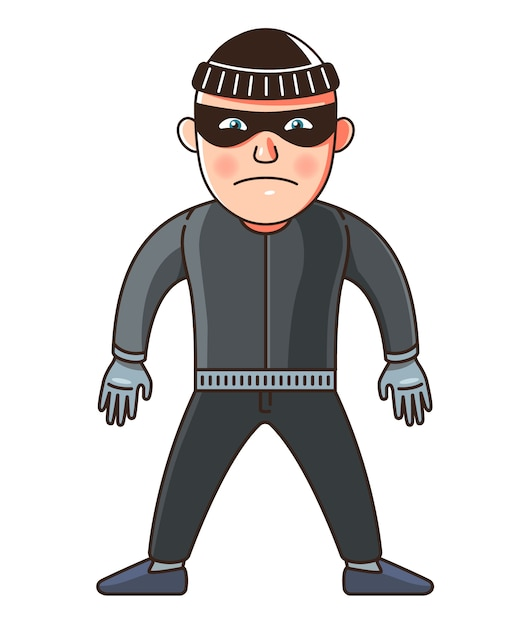 A man is a thief in full growth. character illustration Premium Vector