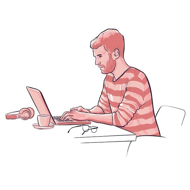 L'uomo sta lavorando al computer portatile con occhiali e cuffie e tazza di caffè Vettore gratuito