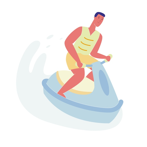 Man on jet ski, character riding water scooter Premium Vector