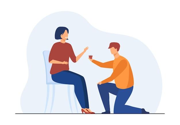 男性は片膝をつき、女性にはほとんどプレゼントを与えません。彼氏はガールフレンドをプロポーズします。漫画イラスト 無料ベクター