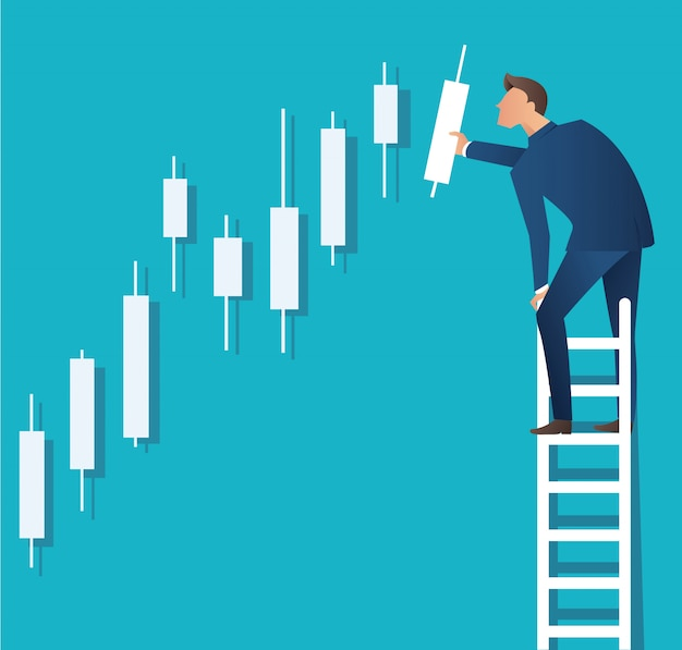 Man on ladder with candlestick chart background Premium Vector