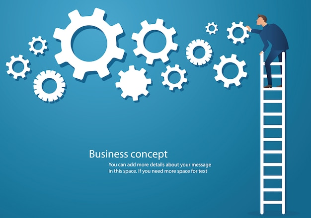 Man on ladder with gears vector illustration Premium Vector