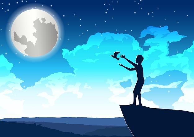 男は崖の上で平和に鳥を出して、夜のイラスト Premiumベクター