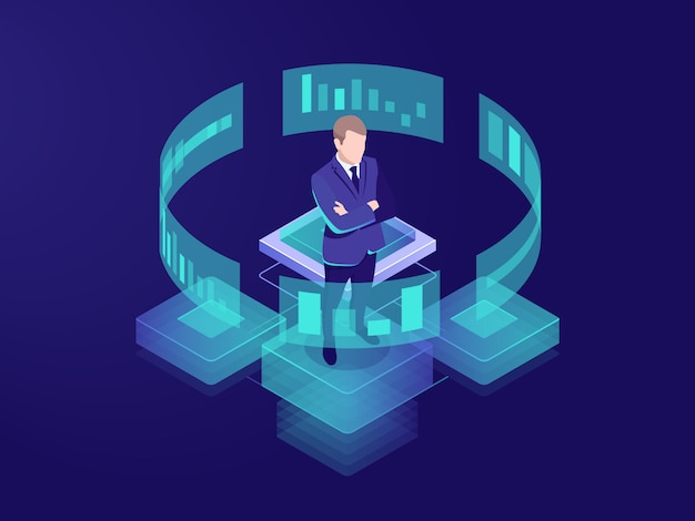 Man look graphic chart, business analytics concept, big data processing icon Free Vector