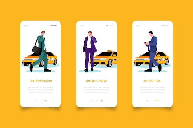 Man looking for cab mobile app screens Free Vector