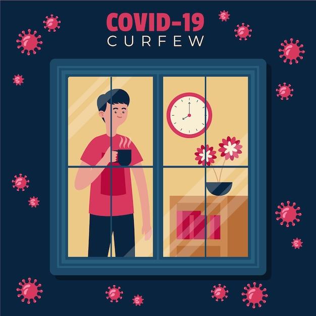 コロナウイルス門限中に窓の外を見ている男 Premiumベクター