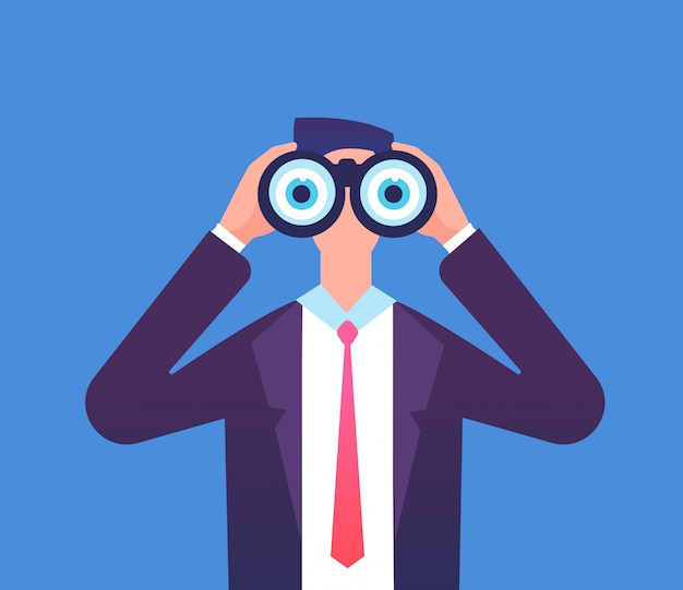 Man looking through binoculars. we are hiring, recruiting and business seeing vector concept Premium Vector
