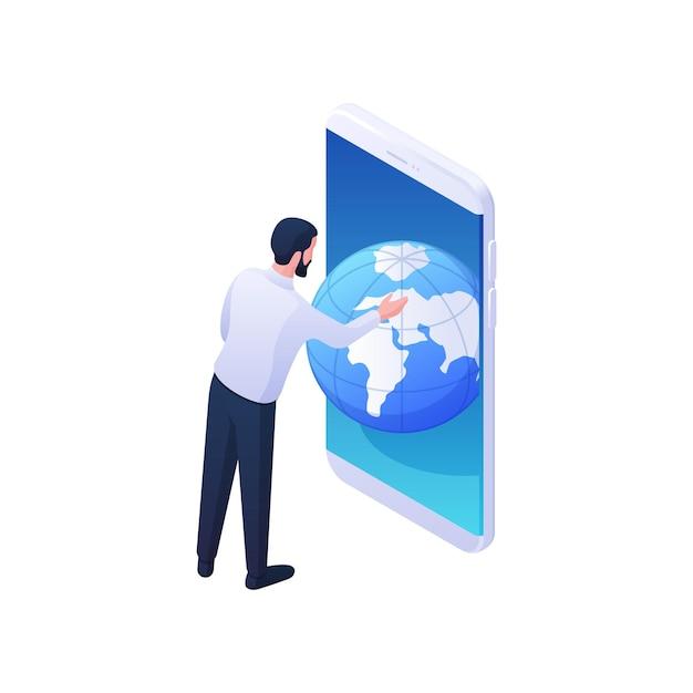 男は、モバイルアプリケーションの等角図でグローバルな地理を見てください。男性キャラクターがスマートフォンでウェブ地球儀をスクロールします。国際情報学と惑星学習の概念。 Premiumベクター