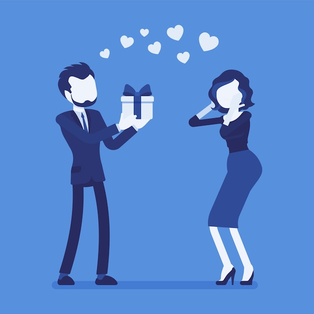 Man in love giving gift to woman Premium Vector