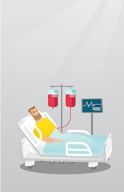Man lying in hospital bed vector illustration. Premium Vector