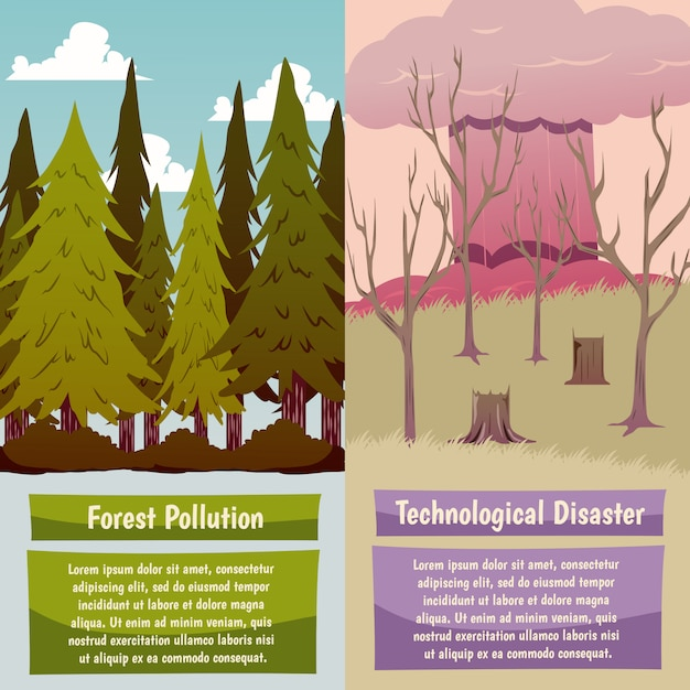 Man made disasters orthogonal banners Free Vector