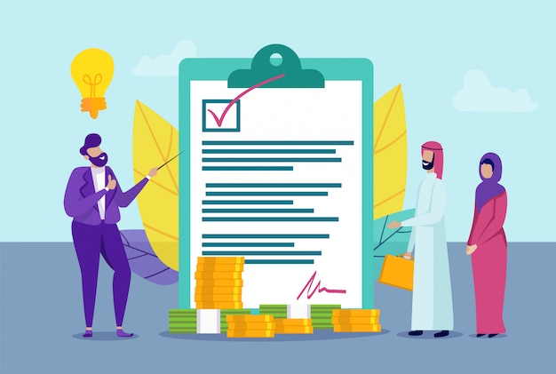 Man makes agreement with arab family. contract. Premium Vector