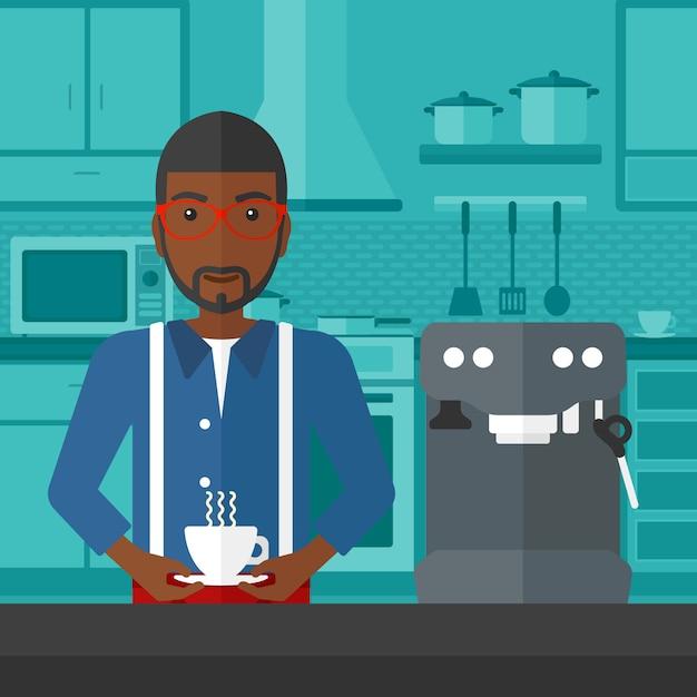 Man making coffee Premium Vector