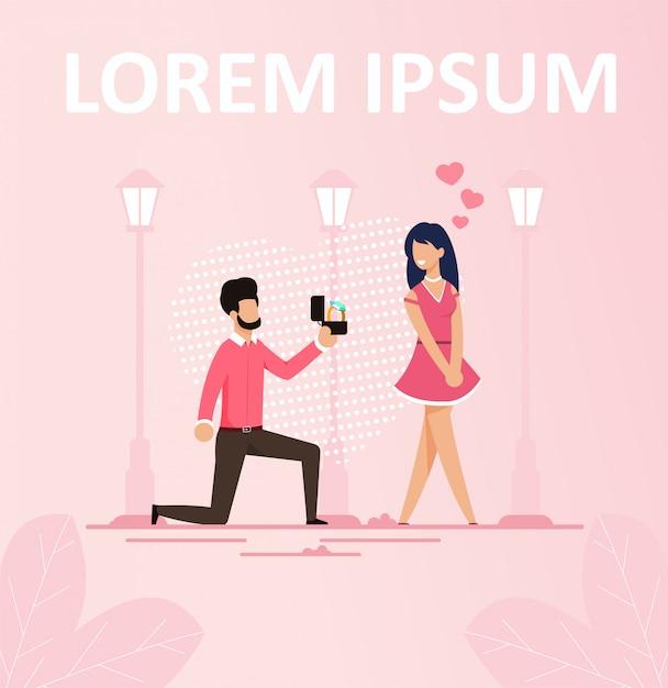 Man making marriage proposition romantic poster Premium Vector