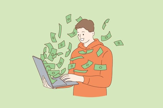 インターネットイラストでお金を稼ぐ男 Premiumベクター