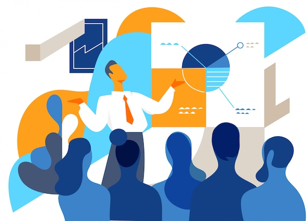 Man making presentation in front of a crowd of people Premium Vector