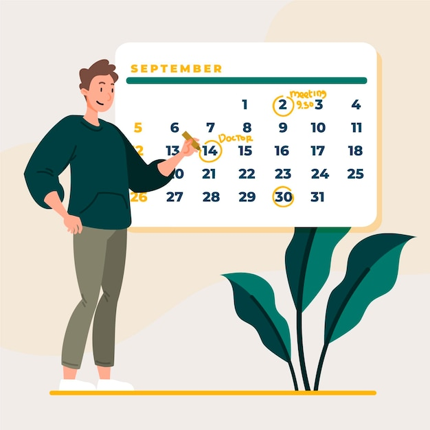 Man marking his appoiment booking days Free Vector