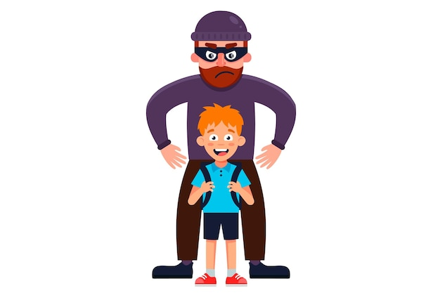 A man in a mask kidnaps a little boy. flat  character illustration. Premium Vector