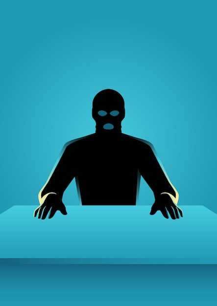 Man in mask sitting in front of a table Premium Vector
