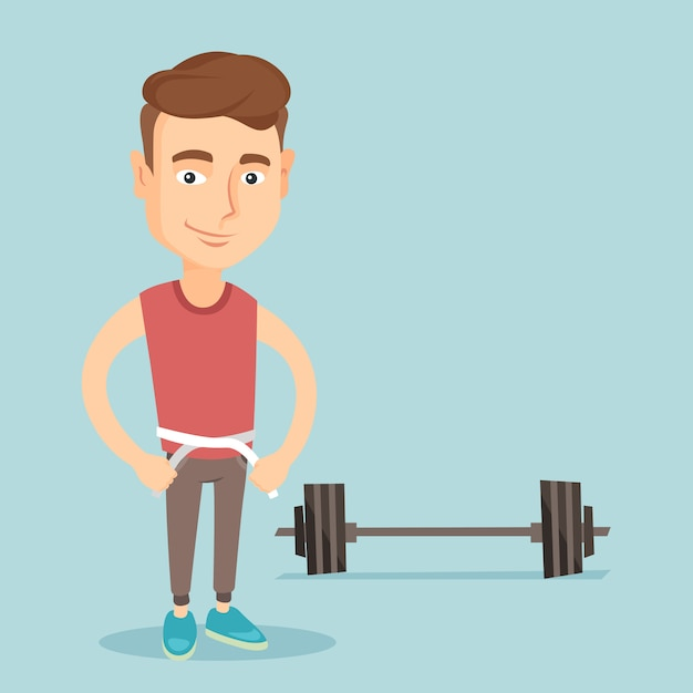 Man measuring waist vector illustration. Premium Vector