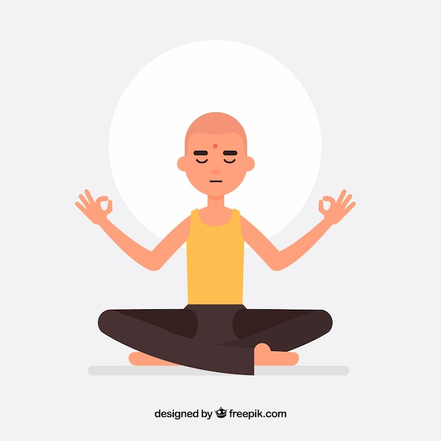 man meditating with flat design vector free download