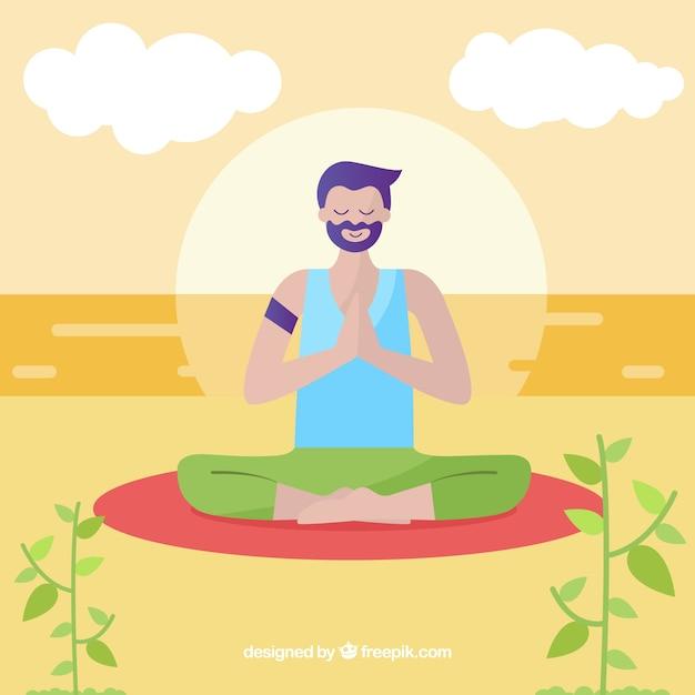 Man mindfulness meditation background Premium Vector