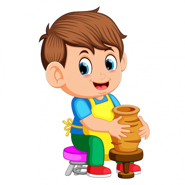 A man molding a vase of clay on a potter's wheel in a pottery workshop Premium Vector