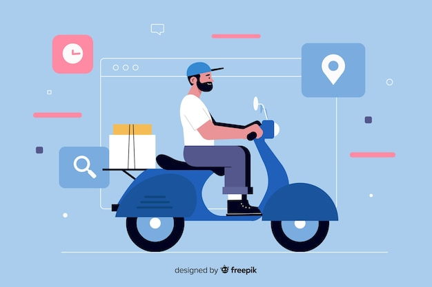 Man on motor scooter for delivery landing page Free Vector