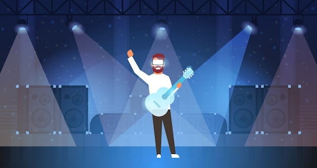 Man music guitarist wear digital glasses playing virtual reality guitar on stage light effects disco dance studio vr vision headset innovation concept flat horizontal Premium Vector