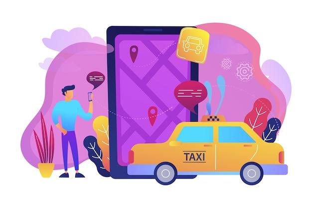 Un uomo vicino a un enorme smartphone con mappa della città e tag gps sullo schermo chiama un'illustrazione di taxi Vettore gratuito
