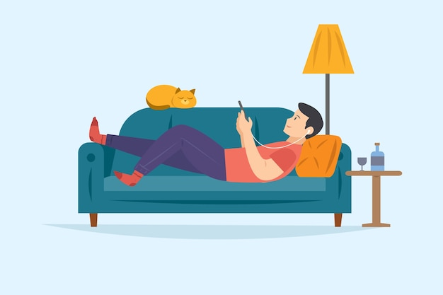 スマートフォンで音楽を聴きながらリラックスできるソファの上の男 無料ベクター