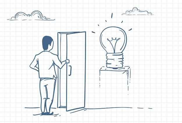 Man opening door to new ideas Premium Vector