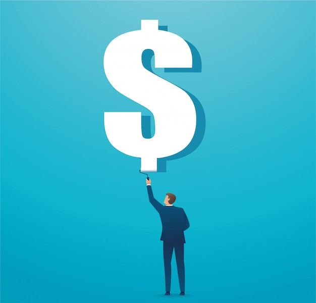Man painted dollar icon business concept Premium Vector