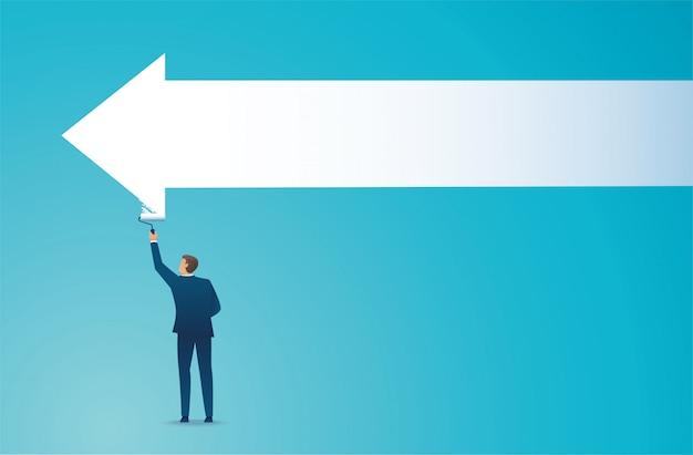 Man painting the arrow business concept. Premium Vector
