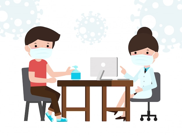Man patient at a doctor consultation in clinic office. doctor consultation and diagnosis of epidemic virus wuhan coronavirus 2019-ncov pandemic medical health risk concepts illustration flat. Premium Vector
