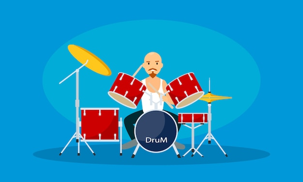 Man play at drums, flat style Premium Vector