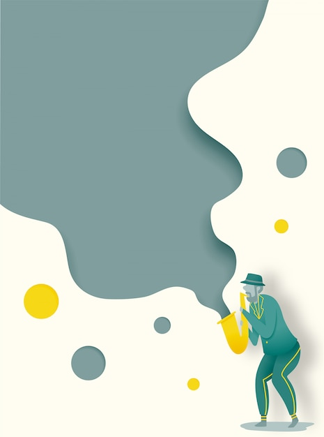 Man play saxophone in dribble and paper art style vector illustration Premium Vector