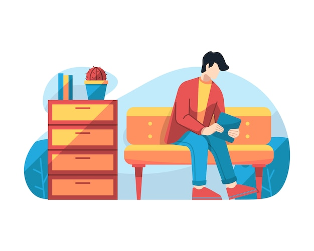 Man play tablet in waiting room vector illustration Premium Vector
