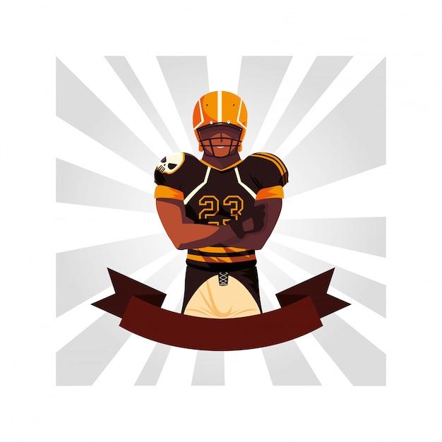 リボン付き男プレーヤーアメリカンフットボール Premiumベクター