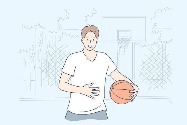 男はバスケットボールのコンセプトを再生 Premiumベクター