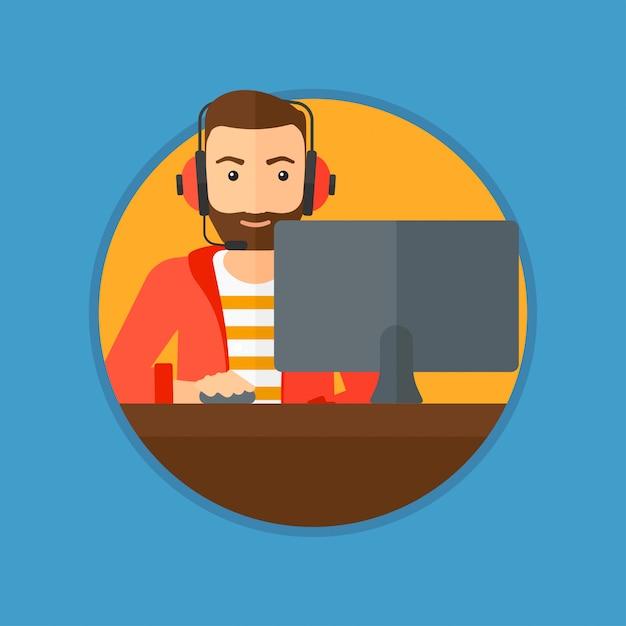 Man playing computer game. Premium Vector