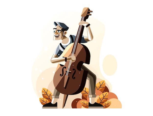 Man playing double bass illustration Premium Vector