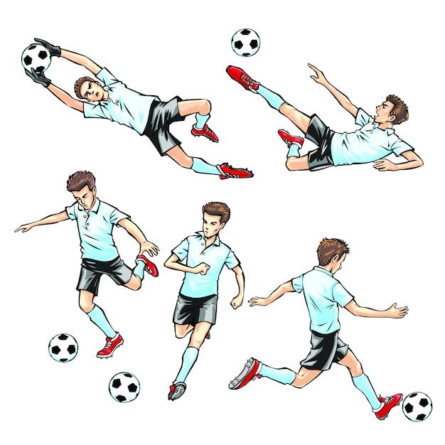 A man playing football Premium Vector